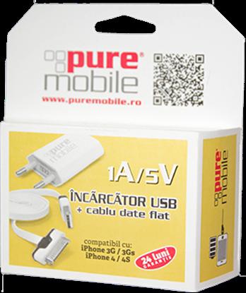 Imagine Incarcator USB + cablu date flat IPH4