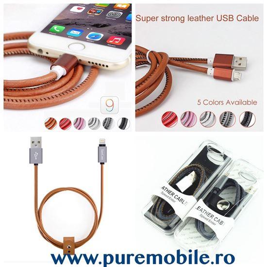 Imagine CABLU DATE DIN PIELE MICRO USB PENTRU SAMS S4/5/6/ HTC ECT