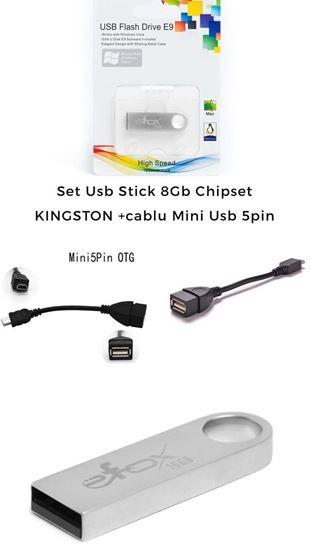 Imagine set-usb-stick-metal-8gb+Cablu date mini usb 5 pin Casa de marcat Datecs DP150, Datecs DP25 , Datecs WP50, Datecs DP150