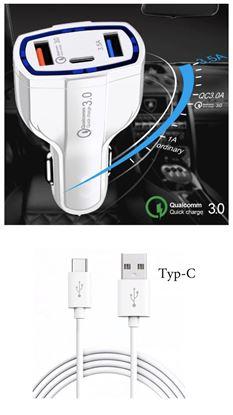 Imagine   FAST CAR CHARGERS 12V/3.5A +CABLU DATE TYP-C  Pentru  GALAXY  S10,S8/S8+/s9/s9+/Note 9   ALB/NEGRU
