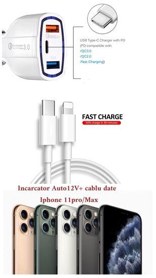 Imagine Cablu Date Usb C to Ligthning  FOXCONN  pentru iphone 11pro/max +Car Fast Charger 12vBulk